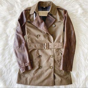 Burberry Brit 'Swansbury' Leather Trim Trenchcoat